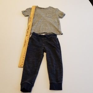 Kid's gray top and blue bottom ensemble